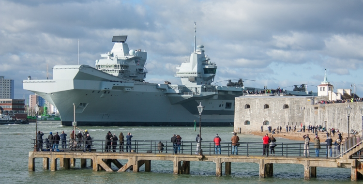 HMS QE leaving Portsmouth for rotary wing trials