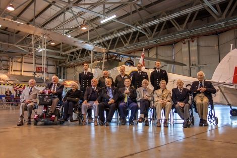 Fleet Air Arm veterans and the current personnel of the RN Historic Flight