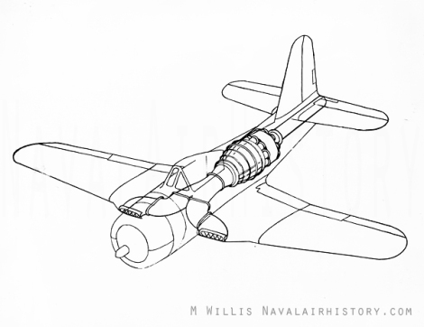 Drawing of the Ryan Fireball showing the installation of the jet engine